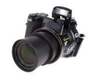 Macchina fotografica di Digitahi SLR con l'obiettivo di zoom allegato Fotografia Stock Libera da Diritti