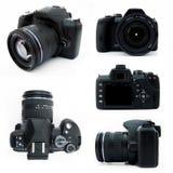 Macchina fotografica di Digitahi SLR da tutti i punti di vista isolati Fotografie Stock