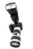 Macchina fotografica di DSLR con l'obiettivo di zoom. Fotografia Stock Libera da Diritti