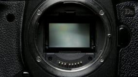 Macchina fotografica di Dslr del meccanismo dell'otturatore con lo specchio archivi video