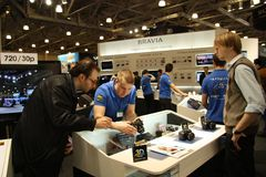macchina fotografica di immagine 3D al basamento del SONY Fotografie Stock
