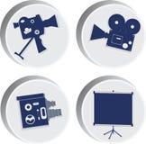 Macchina fotografica di inema del ¡ di Ð Quattro icone di vettore Immagini Stock