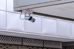 Macchina fotografica di IR di sicurezza per gli eventi del monitor in città Fotografia Stock
