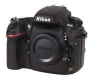 Macchina fotografica di Nikon D800 SLR Digitahi isolata su bianco Fotografia Stock