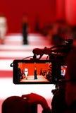 Macchina fotografica di Televison che trasmette per radio una sfilata di moda Immagine Stock Libera da Diritti
