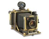 Macchina fotografica di vista dell'oro 4x5 con il percorso di residuo della potatura meccanica Fotografia Stock
