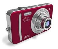 Macchina fotografica digitale compatta rossa Fotografia Stock Libera da Diritti