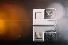 Macchina fotografica digitale di azione dell'EROE 5 di GoPro con il chiarore della lente Immagini Stock Libere da Diritti