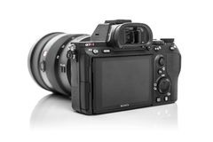 Macchina fotografica digitale di Sony Alpha a7R III Mirrorless Fotografie Stock Libere da Diritti