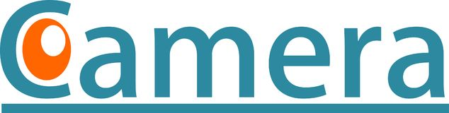Macchina fotografica digitale ed immagini di logo Fotografia Stock Libera da Diritti