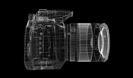 Macchina fotografica digitale nera isolata Fotografie Stock Libere da Diritti