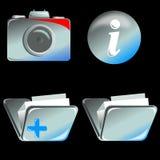 Macchina fotografica, dispositivo di piegatura ed icona di Info royalty illustrazione gratis