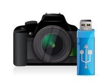 Macchina fotografica e bastone del usb Fotografie Stock Libere da Diritti