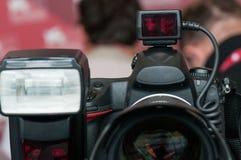 Macchina fotografica e flash Immagini Stock Libere da Diritti