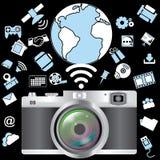 Macchina fotografica ed applicazione Immagini Stock
