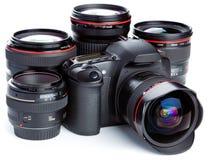 Macchina fotografica ed obiettivi   Fotografie Stock Libere da Diritti