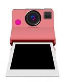 Macchina fotografica istante con una foto in bianco Immagine Stock