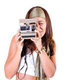 Macchina fotografica istante in un ritratto della donna dell'annata fotografie stock
