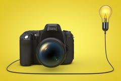 Macchina fotografica moderna della foto di Digital collegata alla luce creativa Bul di idea Fotografie Stock Libere da Diritti