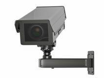 Macchina fotografica o videocamera di sicurezza del Cctv isolata su bianco Fotografia Stock
