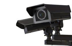 Macchina fotografica o videocamera di sicurezza del Cctv isolata su bianco Fotografie Stock