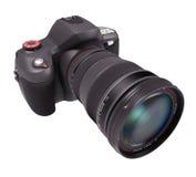 Macchina fotografica professionale sopra bianco Fotografia Stock Libera da Diritti