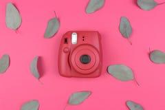 Macchina fotografica su un fondo rosa Vista superiore, disposizione piana Fotografia Stock
