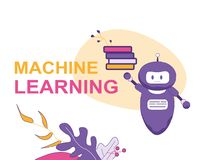 Macchina Larning Bot di chiacchierata di intelligenza artificiale illustrazione di stock