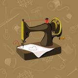 Macchina per cucire, oggetti senza cuciture e di cuciti Fotografia Stock Libera da Diritti