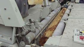 Macchina per l'elaborazione dei fogli da impiallacciatura, nel processo Il ceppo girante è fogli sottili incisi video d archivio