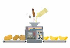 Macchina per produrre le patatine fritte Produzione di frittura nel grasso bollente del potat Fotografie Stock