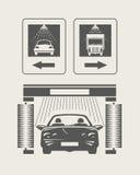 Macchina pulita di Washington dell'automobile, lavaggio di automobile con la spugna e tubo flessibile Insieme delle icone Fotografia Stock