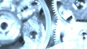 Macchina rotante di ticchettio del meccanismo di ingranaggio dell'orologio del cronometro dell'ologramma del fantasma vecchia archivi video