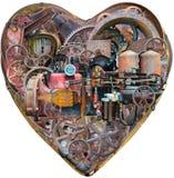 Macchina umana del cuore di Steampunk, isolata Fotografie Stock