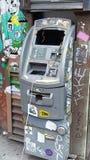 Macchina vandalizzata della banca Fotografia Stock Libera da Diritti