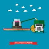 Macchinario agricolo sulla mietitrebbiatrice del campo e sul camion, illustrazione di vettore illustrazione vettoriale