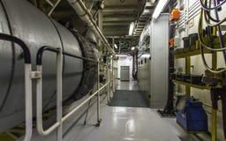 Macchinario della nave porta-container Fotografia Stock