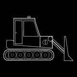 Macchinario della strada della costruzione del trattore del bulldozer Fotografie Stock Libere da Diritti