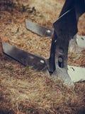 Macchinario di agricoltura, arare fatta a macchina di acciaio Fotografia Stock