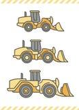 Macchinario di costruzione: Caricatori della ruota Immagine Stock