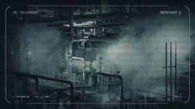 Macchinario industriale del CCTV sulla notte piovosa archivi video
