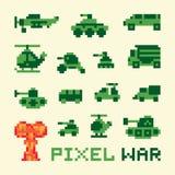 Macchine di guerra di arte del pixel messe illustrazione di stock