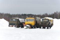 Macchine di rimozione e di servizio di neve Immagine Stock