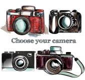 Macchine fotografiche d'annata disegnate a mano sveglie messe Illustrazione di vettore Fotografie Stock
