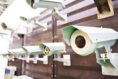 Macchine fotografiche del CCTV con proteggere immagine stock libera da diritti