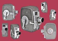 Macchine fotografiche dell'annata 8mm nella retro disposizione immagini stock libere da diritti