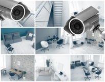 Macchine fotografiche moderne del CCTV con la vista vaga delle posizioni dell'ufficio fotografia stock