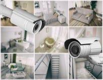 Macchine fotografiche moderne del CCTV con la vista vaga delle posizioni domestiche fotografia stock