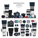Macchine fotografiche professionali della foto Immagini Stock