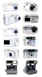Macchine fotografiche stabilite della pellicola e digitali. Fotografia Stock